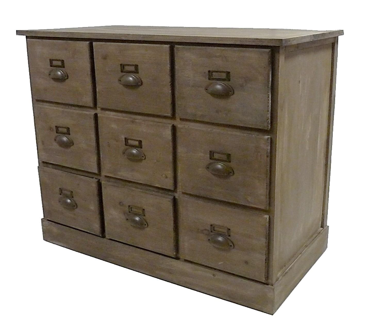 chiffonnier en bois commode 9 tiroirs semainier bahut de rangement grainetier meuble chaussures 45x82x87cm - Semainier Bois Et Ardoises