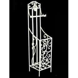 Déroule Papier Toilettes avec Réservoir ou Porte Papier Hygiénique 3 Tiges en Fer Patiné Blanc 18x21x75cm