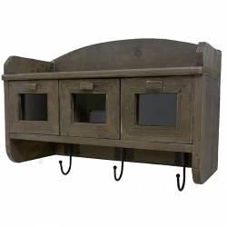 Etagère de Rangement d'Entrée ou de Cuisine Porte Serviettes ou Manteaux en Bois à 3 Tiroirs et 3 Crochets 21x36x50cm