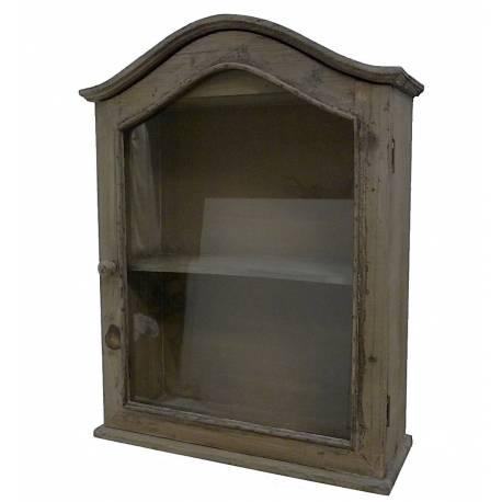 Etag re de rangement murale vitr e fa on petite armoire de pharmacie en bois 1 porte - Armoire pharmacie bois ancienne ...