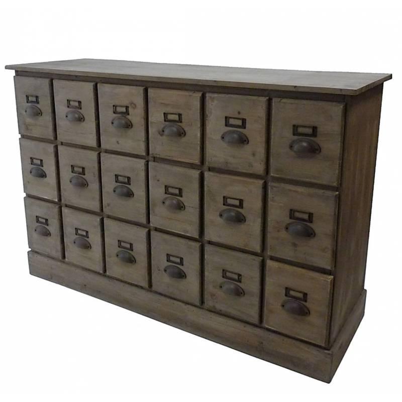 Chiffonnier en bois commode 18 tiroirs semainier bahut for L or du temps meuble
