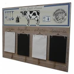 Tableau Bloc Note Mémo Pense-Bête Ardoise Murale au Motif Vache 3,5x38x50cm