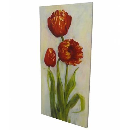 Grand Tableau Cadre Mural en Bois avec Impression sur Toile Motifs Floral Tulipes 2,50x60x124cm