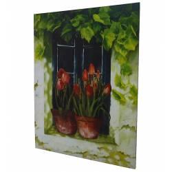 Grand Tableau Cadre Mural en Bois avec Impression sur Toile Motifs Floral Tulipes en Pot sur Fenêtre 2,50x89,50x119cm