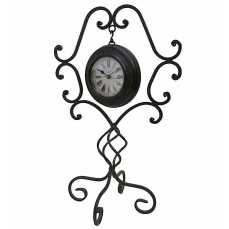 Horloge sur Pied en Arabesque Pendule à Poser en Fer Noir 20x27x42cm