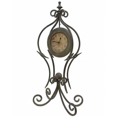 Grande Horloge à Poser Pendule sur Pied en Fer et Fonte Vert 21x37x77cm