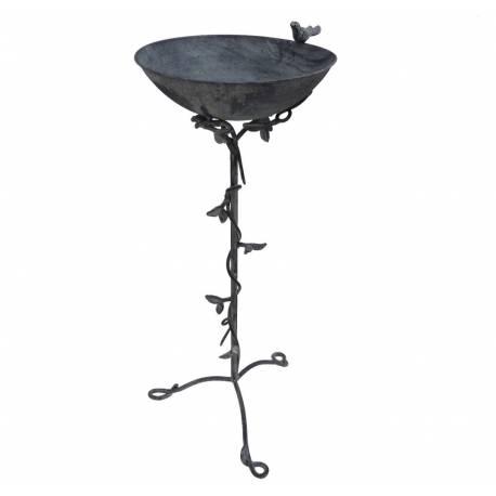 grande mangeoire oiseau bain oiseaux porte plante abreuvoir sur pied en fer et fonte. Black Bedroom Furniture Sets. Home Design Ideas