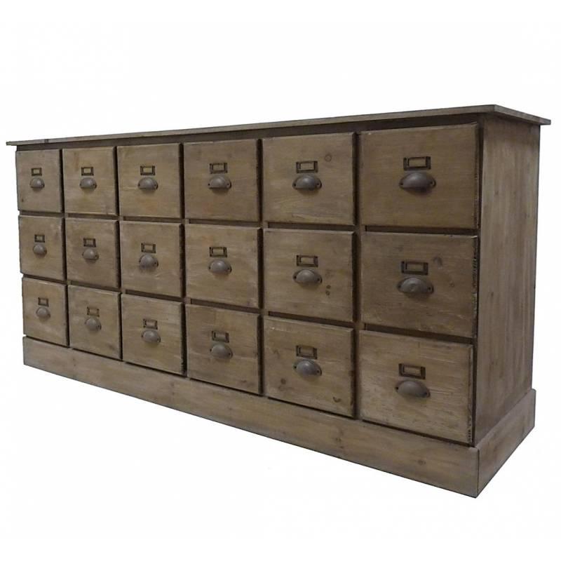 Chiffonnier en bois commode 18 tiroirs semainier bahut for Meuble de classement a tiroirs