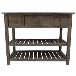 Console de Rempotage Table de Drapier Meuble de Cuisine en Bois & Zinc 50x79x102cm