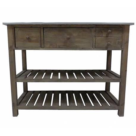 Console de Rempotage Table de Drapier Meuble de Métier de Cuisine en Bois & Zinc 50x79x102cm