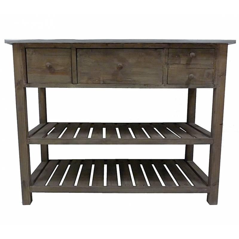 Table rempotage bois zinc for Meuble cuisine bois et zinc