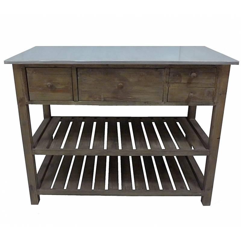 Console De Rempotage Table De Drapier Meuble De M Tier De Cuisine En Bois Zinc 50x79x102cm L