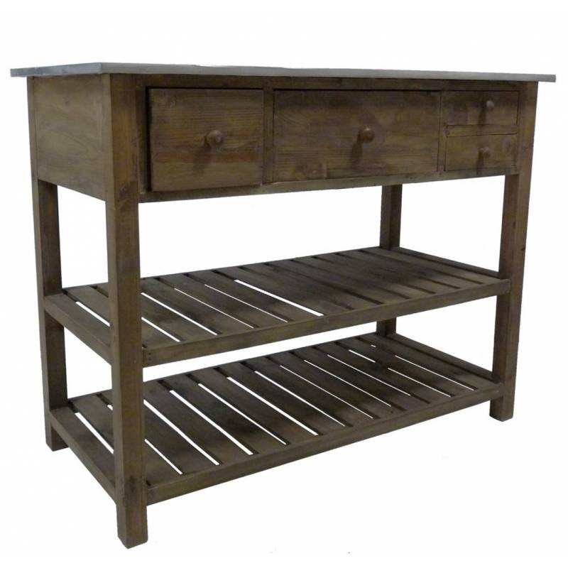 Console de rempotage table de drapier meuble de m tier de for Meuble cuisine en l