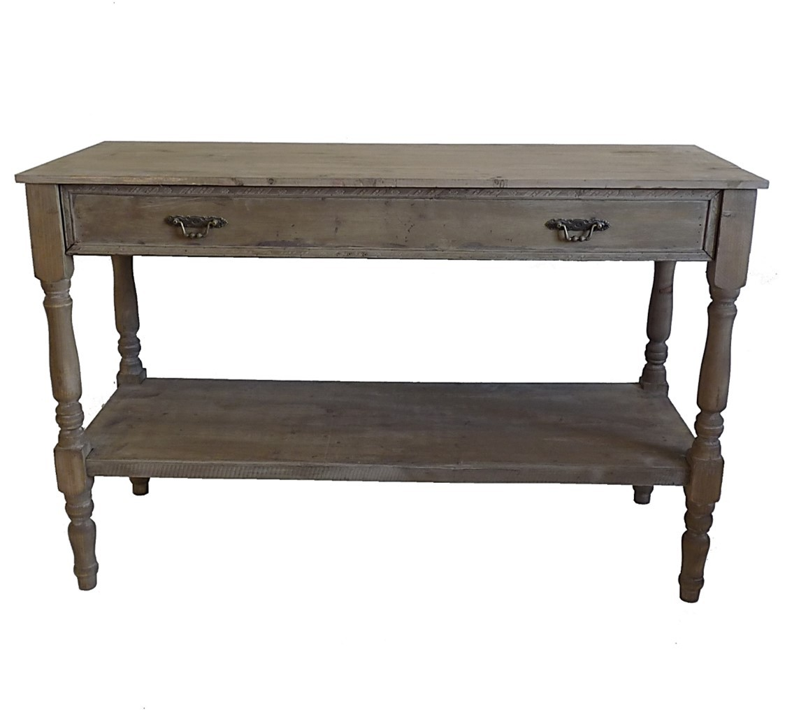 Amazing table de drapier console meuble en bois avec grand for Table escamotable cuisine tiroir