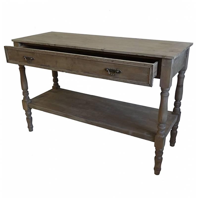 Table de drapier console meuble d 39 appoint en bois avec for Table console avec tiroir