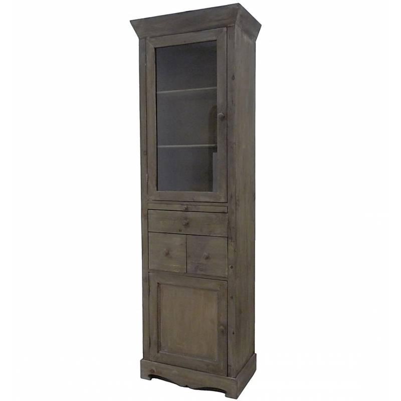 colonne vitrine style bonneti re meuble de cuisine rangement de salle de bain armoire en bois. Black Bedroom Furniture Sets. Home Design Ideas