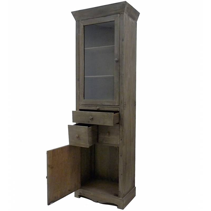 colonne vitrine style bonneti re meuble de cuisine rangement de salle de bain armoire en bois. Black Bedroom Furniture Sets. Home Design Ideas