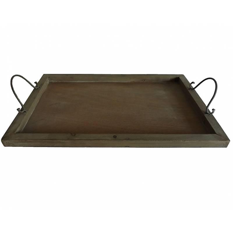 petit plateau de service rectangulaire poser avec anses en bois et fer patin ebay. Black Bedroom Furniture Sets. Home Design Ideas
