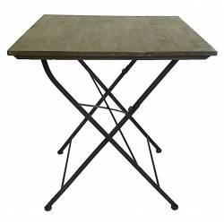 Table Carrée Desserte Pliable Console d'Appoint Intérieur Extérieur Guéridon en Bois et Fer 70x70x77cm