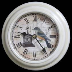 Horloge Murale en Fer Blanc avec Vitre en Plexiglass Pendule de Cuisine Motif Oiseaux 4x21x21cm