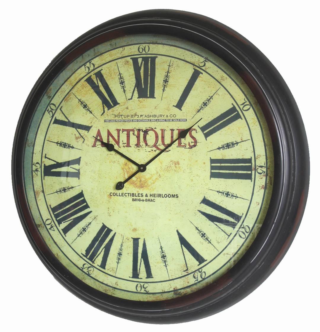 Grande horloge géante pendule ronde vitrée en fer style industriel ...
