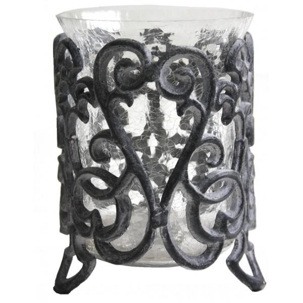 Photophore Bougeoir Décoratif à Bougies ou Pot Porte Plantes en Fonte et Verre Patinée Grise 15,5x15,5x21,5cm