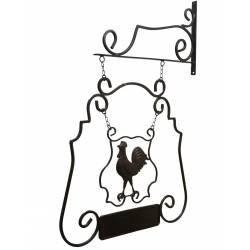 Enseigne Murale de Restaurant sur Crédence Motif Coq en Fer 53x75cm