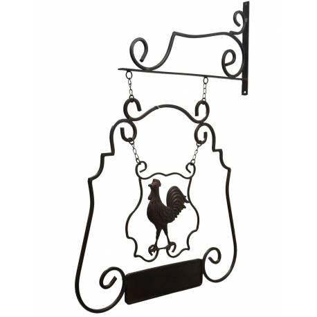 Enseigne Murale de Restaurant sur Crédence Motif Coq en Fer Patiné Marron 5x53x75cm