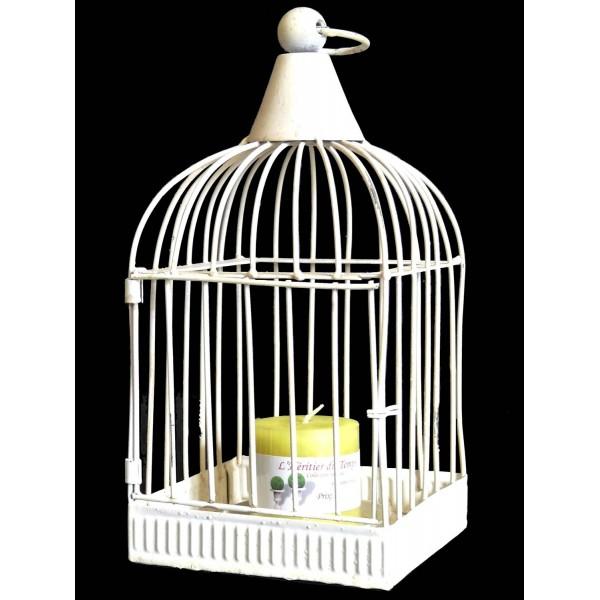 Cage à Oiseaux Style Bougeoir à Suspendre ou Volière Décorative à Poser Carrée en Fer Patiné Blanc 12x12x27,5cm