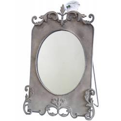 Miroir Style Psyché Ancien Ou Vintage à Poser Glace Ronde en Fer Gris 18x34x46cm