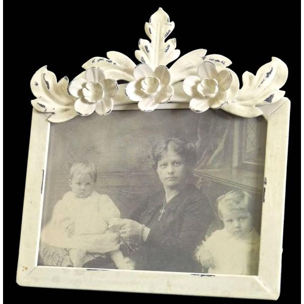 Cadre Photo Porte Souvenirs à Poser en Fer Patiné Blanc 11,5x11,5x20cm