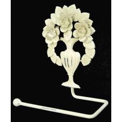 Déroule Papier Toilettes Mural ou Porte Papier Hygiénique Motifs Fleurs à Fixer en Fer Patiné Blanc 8x17x19cm