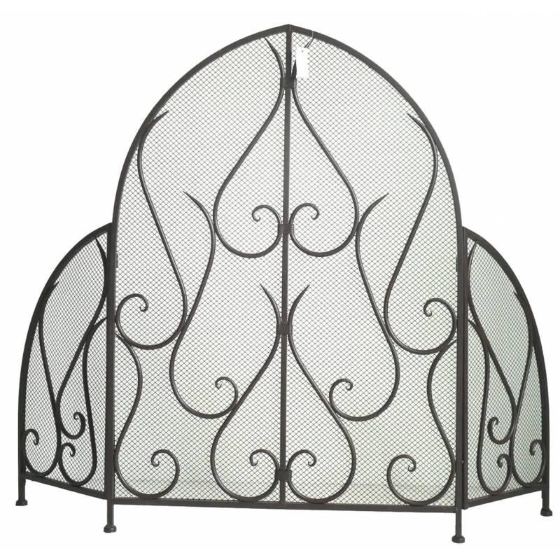 pare feu feux grille de chemin e trois pans grillag ecran de foyer en fer mar ebay. Black Bedroom Furniture Sets. Home Design Ideas