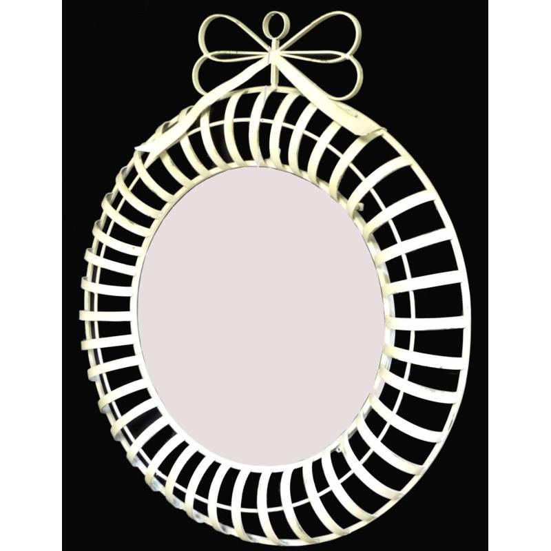 Grand miroir mural rond en fer blanc glace avec noeud for Miroir rond blanc