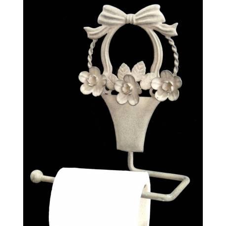 Déroule Papier Toilettes Mural ou Porte Papier Hygiénique Motifs Fleurs à Fixer en Fer Patiné Gris 9x17x20cm