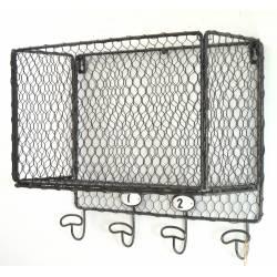 Etagère Grillagée Façon Cage à Poules 4 Crochets ou Panier Mural 4 Patères en Fer Patiné Gris 15x32x36cm