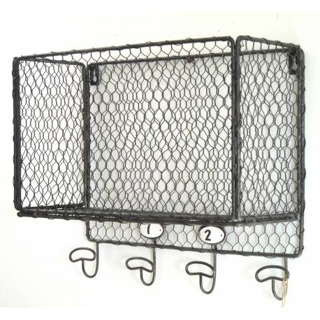 Suspension Grillagée Façon Cage à Poules 4 Crochets ou Panier Mural 4 Patères en Fer Patiné Gris 15x32x36cm