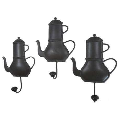 Set de 3 Porte Serviettes Muraux ou Porte Torchons de Cuisine Patère en Fer Patiné Noir 5,5x14x24cm